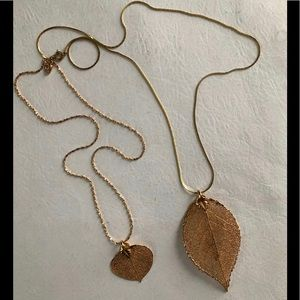 Pair of Fashion Gold Leaf Necklaces Nice